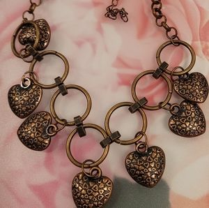 Papparazzi bronze necklace with hearts and circles